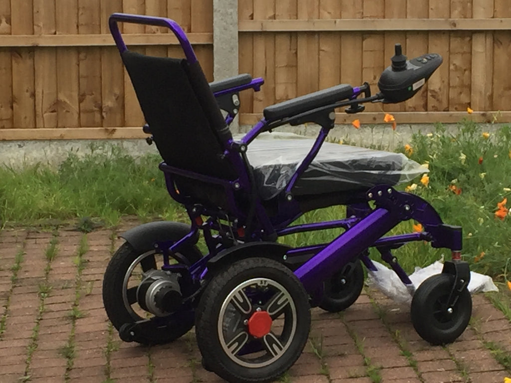 Purple 19 lightweight folding powerchair supplied by BP4D