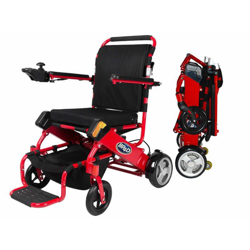 06j red electric folding wheelchair. better products 4 disabled