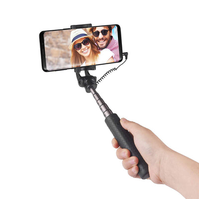 Power Theory Mini Aluminum Selfie Stick with Cable - [Battery Free] Strong Extendable Wired Handheld Monopod for iPhone XSMax/XR/X/8/7/6/6S/SE, Samsung Galaxy S10/S9/S8/S7 Android/Apple Phones (60cm)