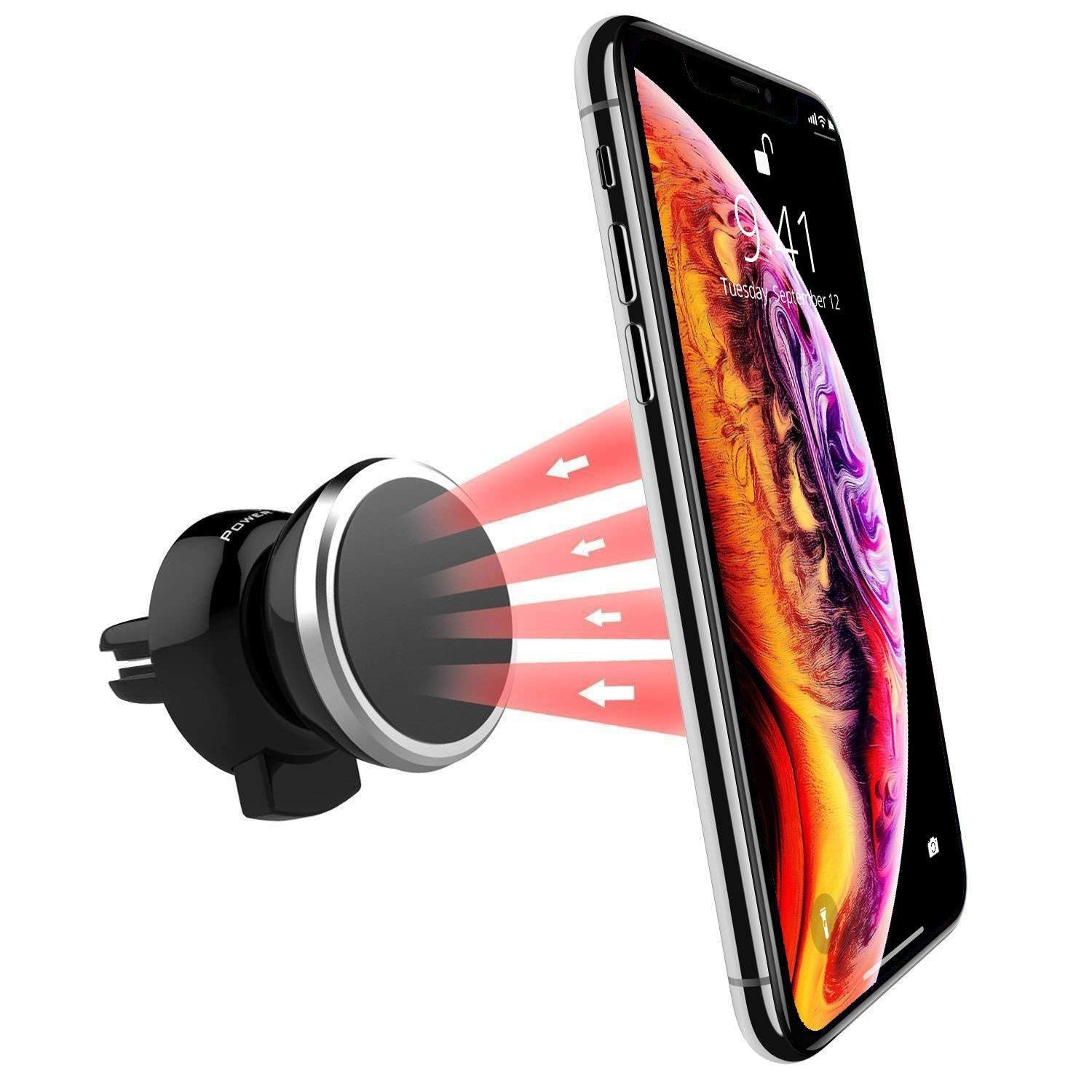 Power Theory Magnetic Car Phone Holder - Universal Air Vent Cell Phone Mount for iPhone XS Max XR XS/X 8 7 Plus 6s 6 SE Samsung Galaxy S10 S9 S8 and other Smartphones - In-Car