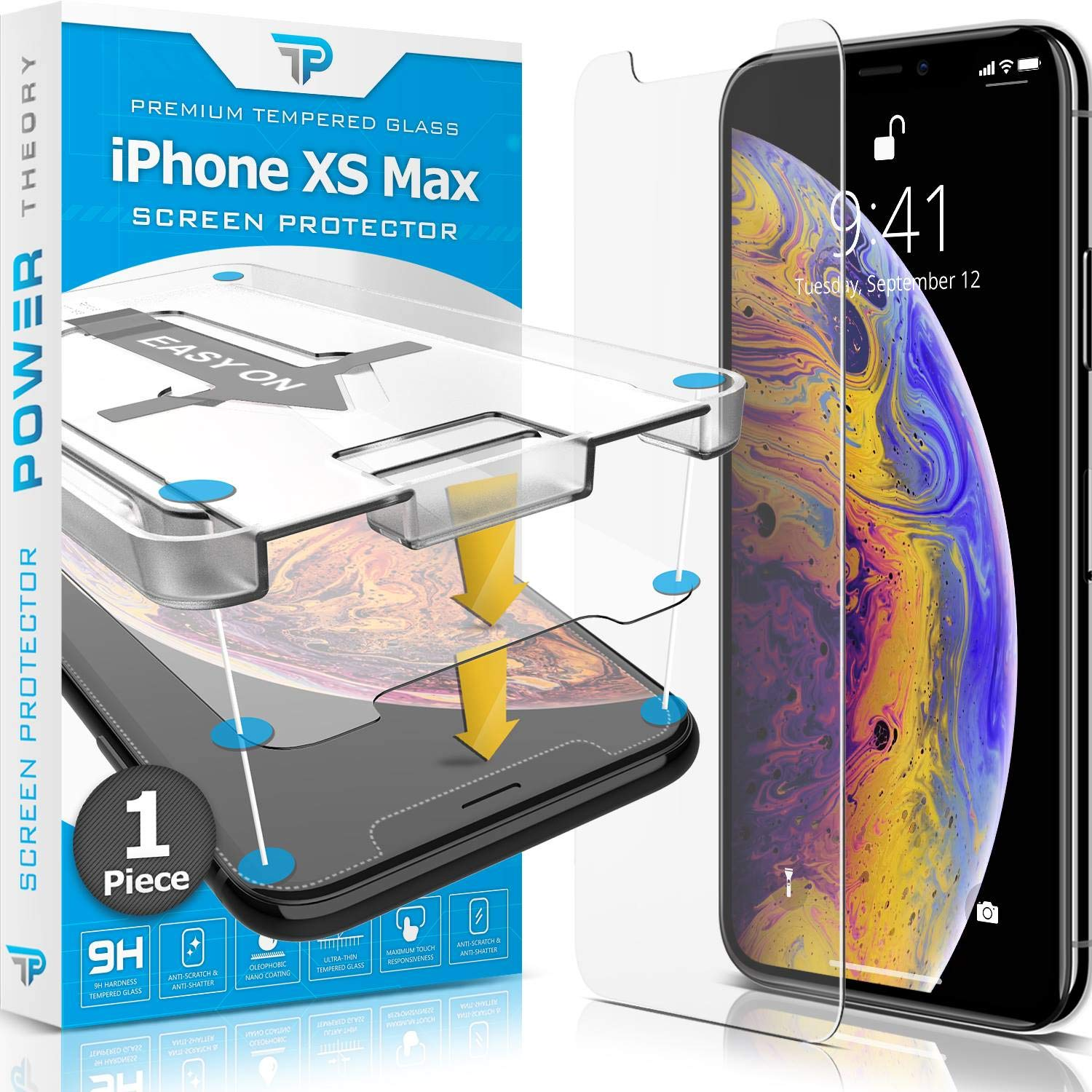 Power Theory iPhone XS Max Screen Protector [1-Pack] Premium Tempered Glass Screen Protectors with Easy App Install Kit for Apple iPhoneXS Max