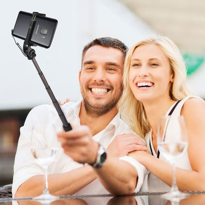 Power Theory Mini Aluminum Selfie Stick with Cable - [Battery Free] Strong Extendable Wired Handheld Monopod for iPhone XSMax/XR/X/8/7/6/6S/SE, Samsung Galaxy S10/S9/S8/S7 Android/Apple Phones (80cm)