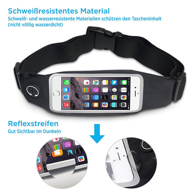 Running Belt Waist Pack – Light Adjustable Snug Bum Bag – Best for Small to Large Waists – Waterproof Lycra – Hands Free Touchscreen Phone Zippered Pouch – Men & Women iPhone Samsung