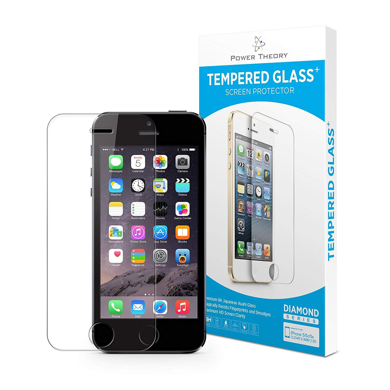 Power Theory iPhone SE/5s/5 Screen Protectors [2-Pack] Premium Tempered Glass Screen Protector with Easy App Install Kit for Apple iPhoneSE