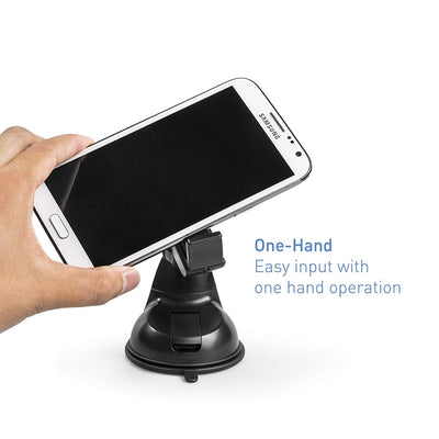 Car Phone Holder - Universal Car Mount - Includes 3M Dashboard Stick Pad for Uneven Surfaces for iPhone XS Max XR XS/X 8 7 Plus 6 SE Samsung Galaxy S5 S6 S7 and other Smartphones (Black)