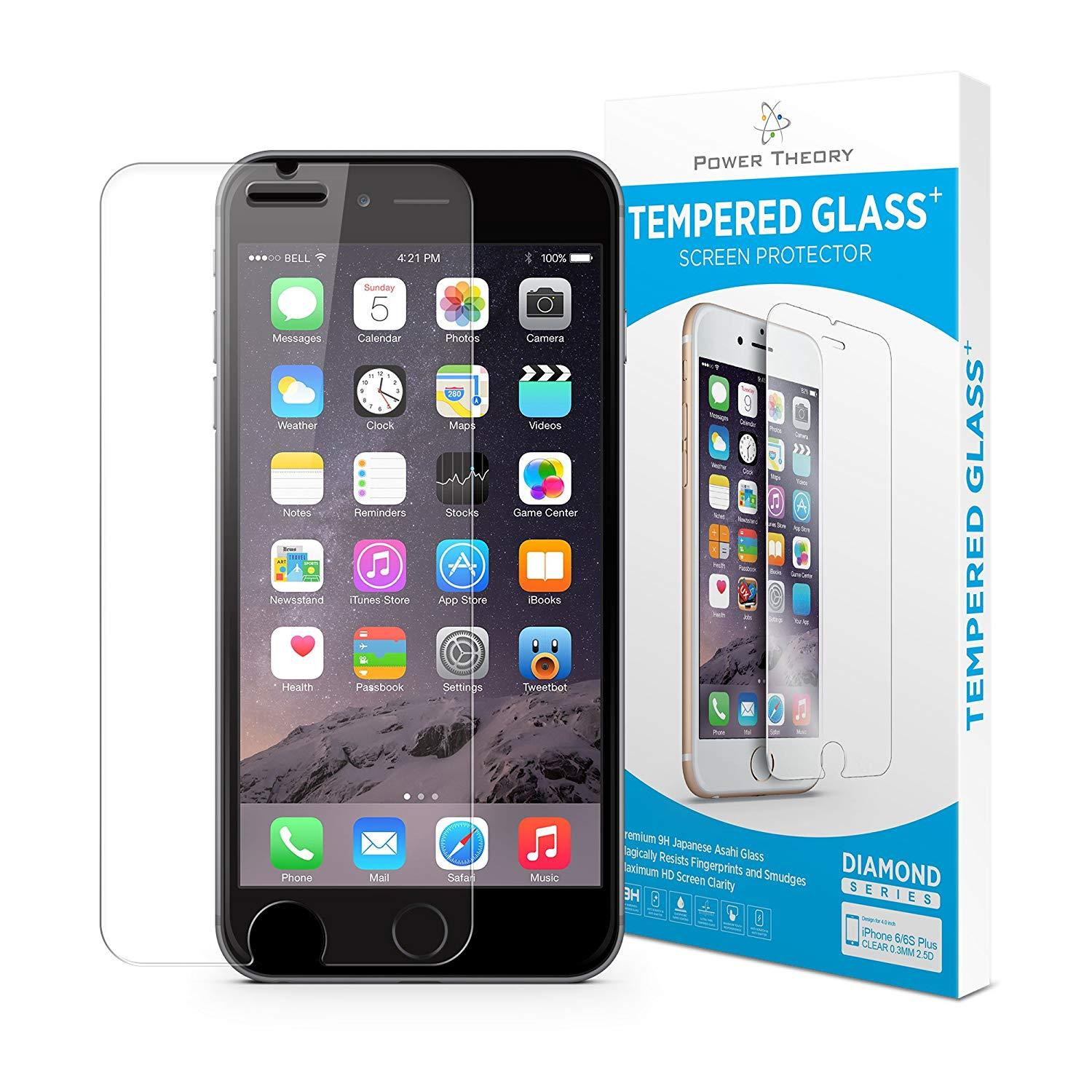 Power Theory iPhone 6s Plus / 6 Plus Screen Protectors [1-Pack] Premium Tempered Glass Screen Protector with Easy App Install Kit for Apple iPhone6s Plus/iPhone6 Plus