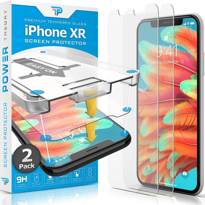 Power Theory iPhone XR Screen Protector [2-Pack] Premium Tempered Glass Screen Protectors with Easy App Install Kit for Apple iPhoneXR