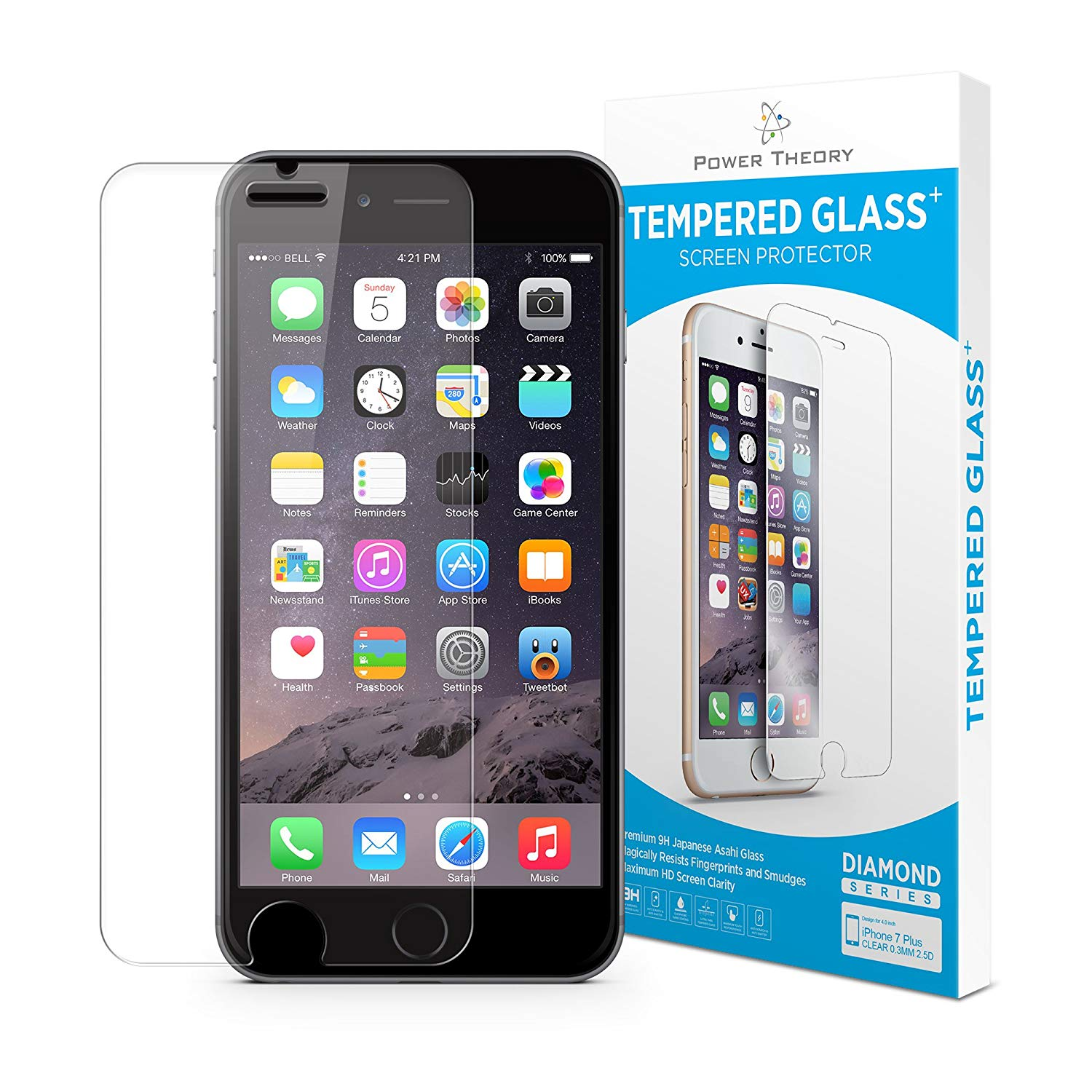 Power Theory iPhone 8 Plus Screen Protectors [1-Pack] Premium Tempered Glass Screen Protector with Easy App Install Kit for Apple iPhone8 Plus
