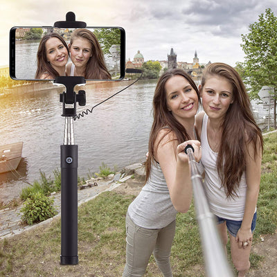 Power Theory Selfie Stick with Cable - [Battery Free] Extendable Wired Handheld Selfiestick for iPhone XS Max/XR/X/8/7/6S/SE, Samsung Galaxy S10/S9/S8/S7/S6 and all Smartphones Selfi Monopod [Black]
