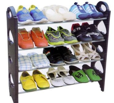 Stackable Shoe Rack - Store 12 pairs of Shoes  4 Layer