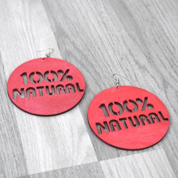100% Natural Earnings, Natural Hair Earrings - Red, earring - Rufina Designs