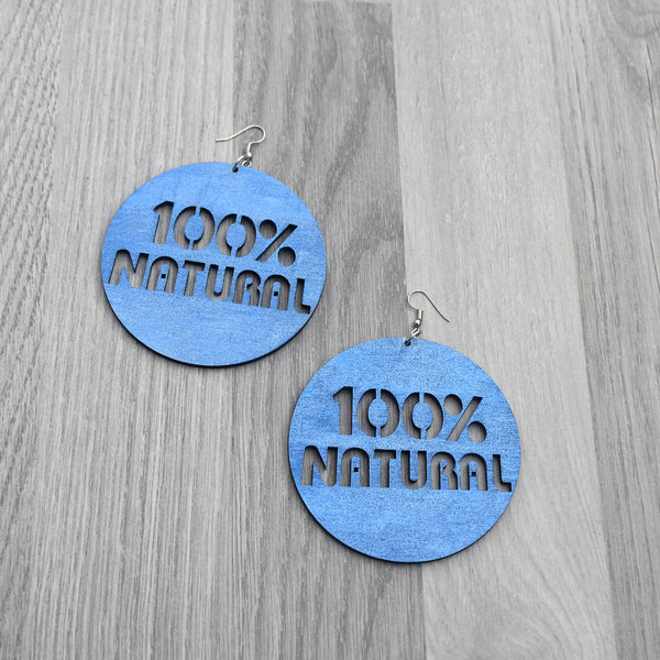 100% Natural Earnings, Natural Hair Earrings - Blue, earring - Rufina Designs