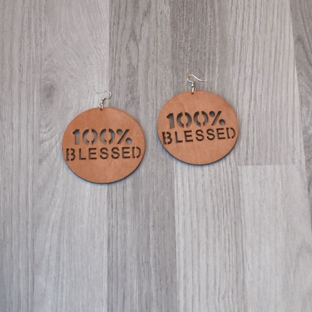 100% Blessed Wooden Earrings, earring - Rufina Designs