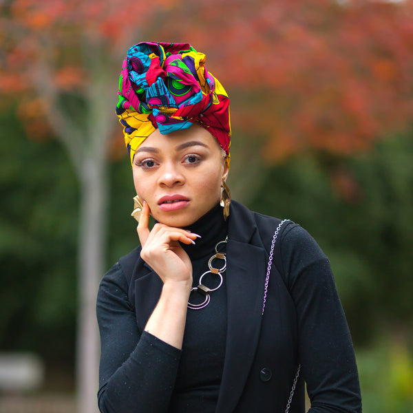 Neema African Wax Print Head wrap, Headwraps - Rufina Designs