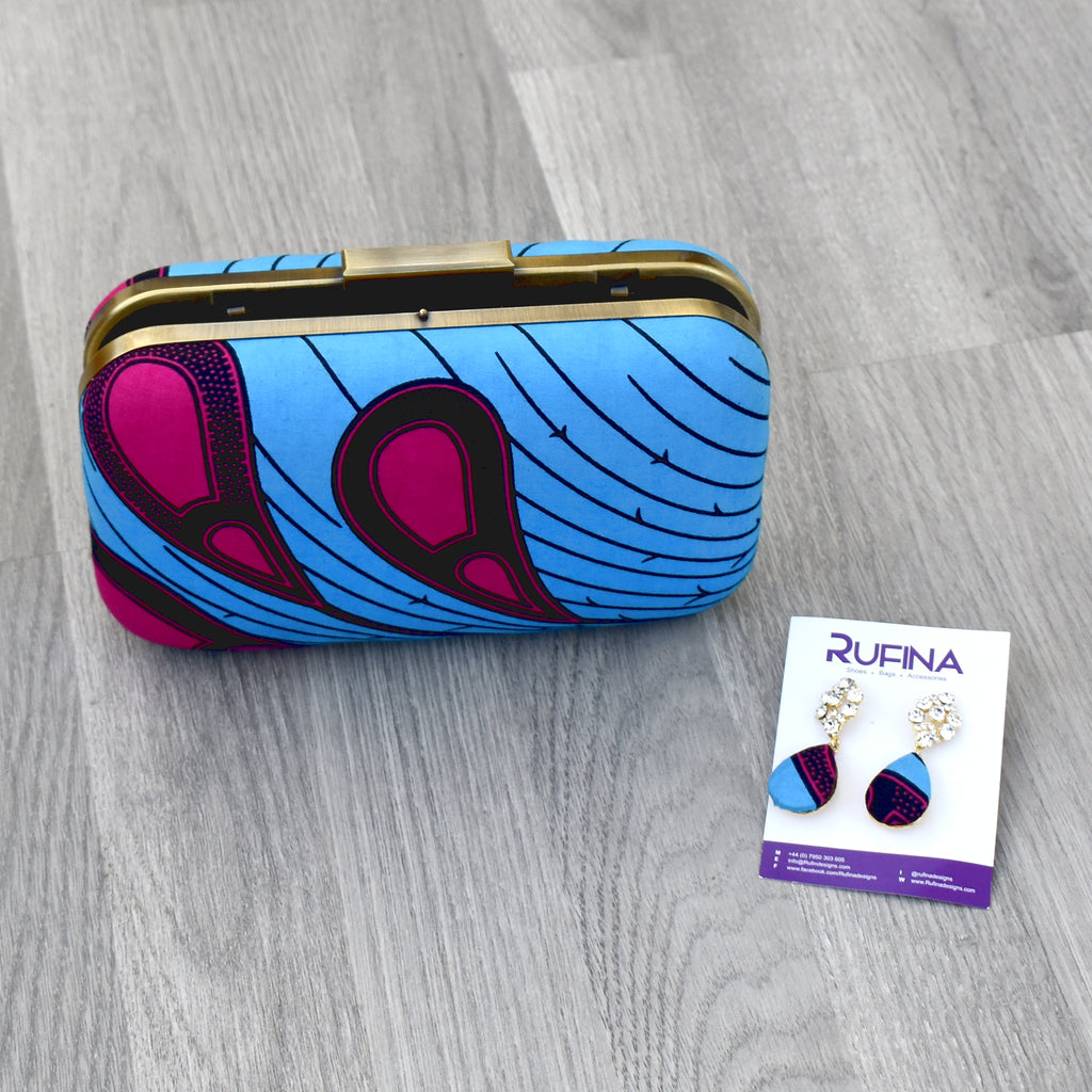 African Print Box Clutch Purse - Crissy, Bags & purse - Rufina Designs