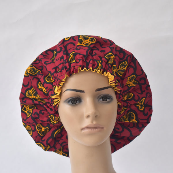 African Print Satin Bonnet - Nunana, Satin Bonnet - Rufina Designs