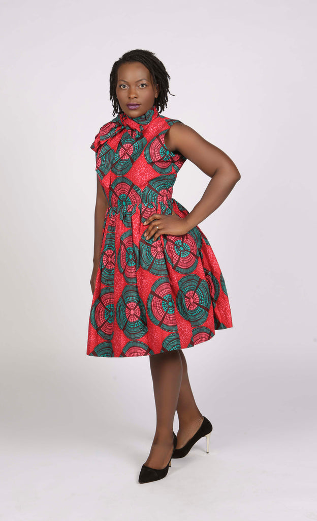 Pink and green African Print Midi Dress, Dress - Rufina Designs