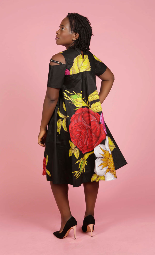 African print Open Shoulder Sleeve dress, Dress - Rufina Designs