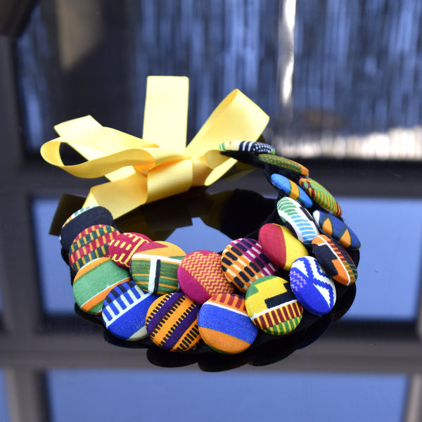 Rossa Kente Print Button Necklace, Necklace - Rufina Designs