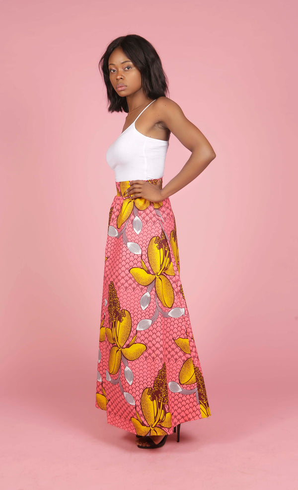 African Print High Waisted Skirt, Skirt - Rufina Designs