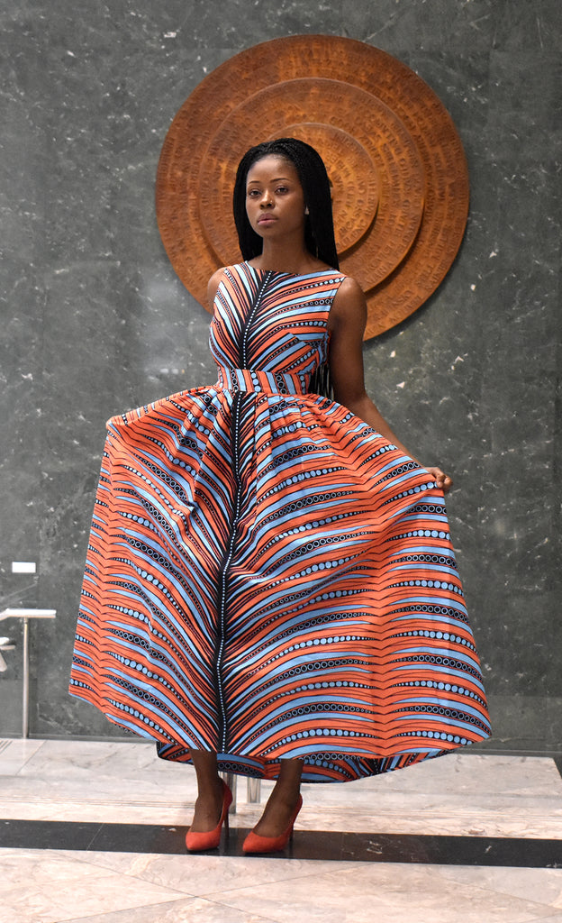 Gwen African print low back maxi dress, Dress - Rufina Designs