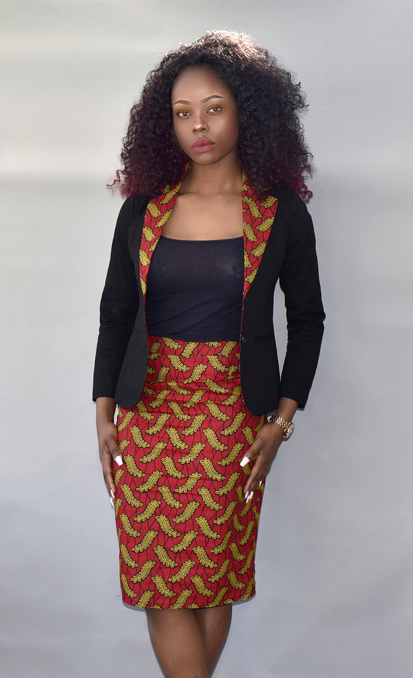 African Print Pencil Skirt and Blazer - Esinu, Dress - Rufina Designs