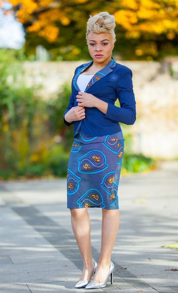 African Print Pencil Skirt and Blazer - Krobea, Dress - Rufina Designs