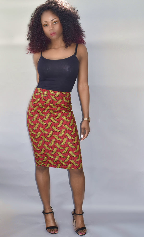 African Print Pencil Skirt - Esinu, Skirt - Rufina Designs
