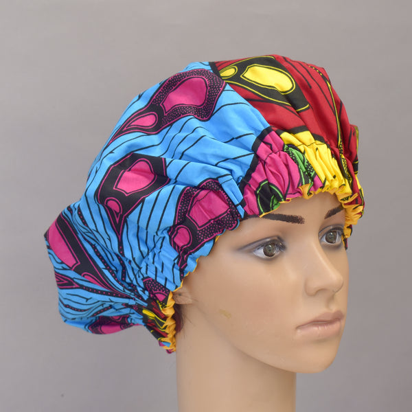 African Print Satin Bonnet - Chrissy, Satin Bonnet - Rufina Designs