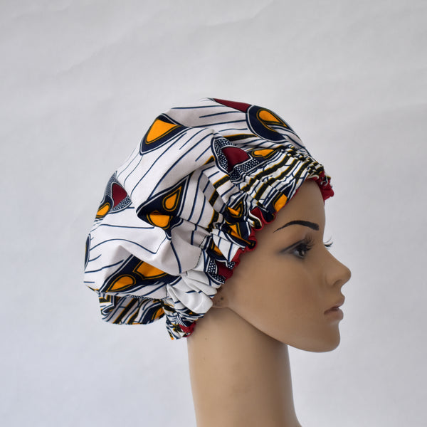 African Print Satin Bonnet - Christa, Satin Bonnet - Rufina Designs