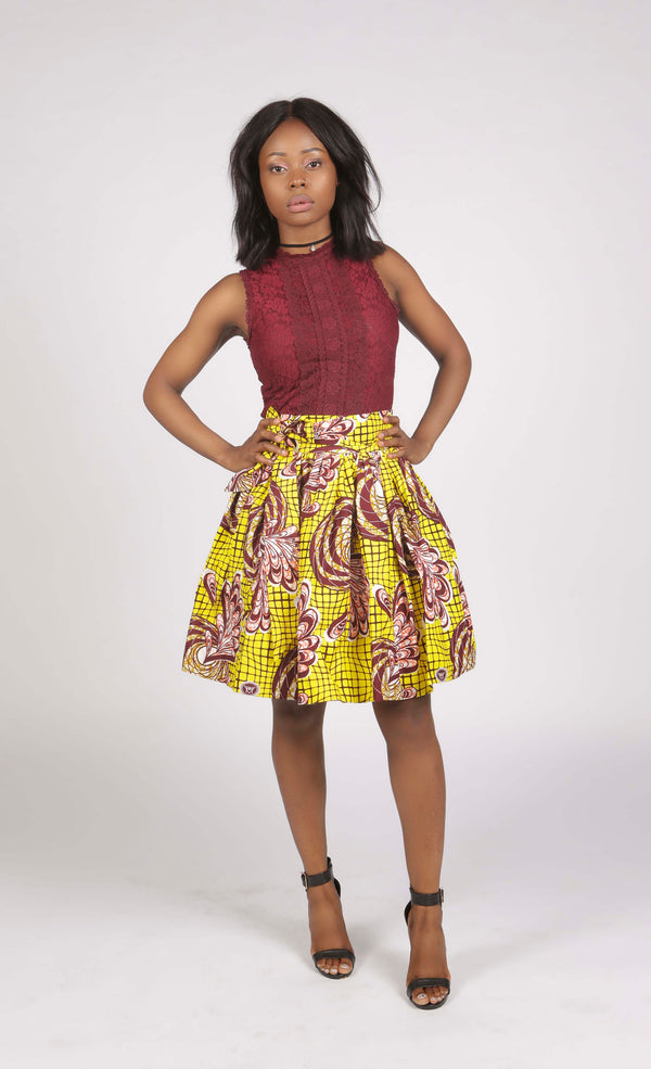 Aso Yellow African Print Short Skirt, Skirt - Rufina Designs