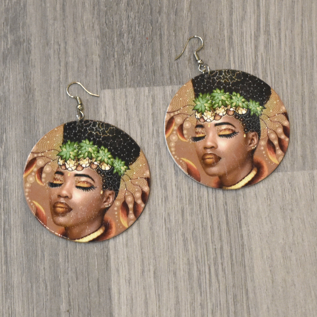 African Woman Wooden Earring, earring - Rufina Designs