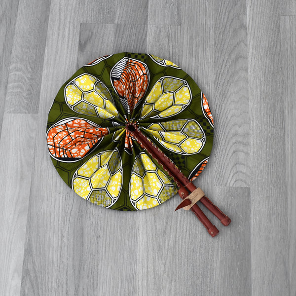 African Print Foldable Hand Fan - AP011, Hand Fans - Rufina Designs