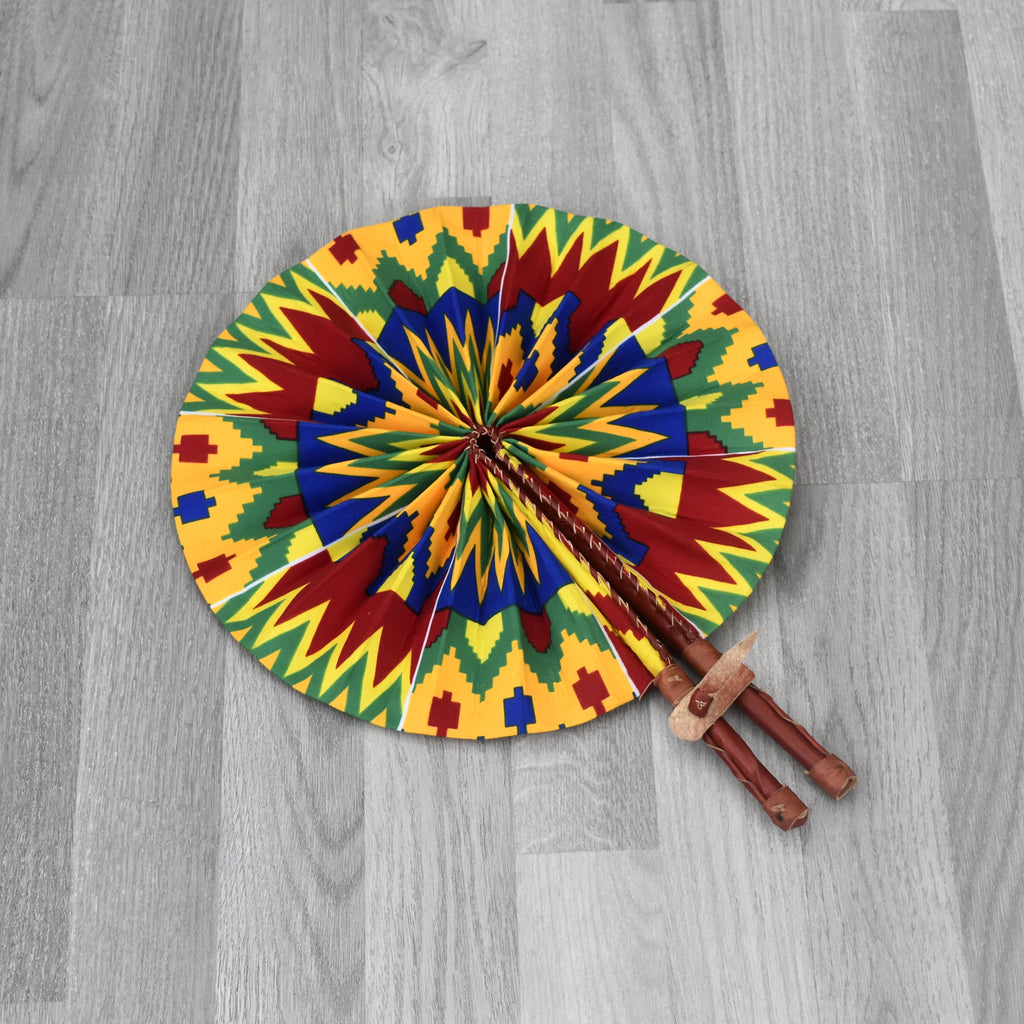 African Print Foldable Hand Fan - AP003, Hand Fans - Rufina Designs