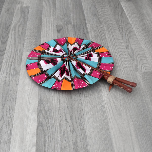 African Print Foldable Hand Fan - AP004, Hand Fans - Rufina Designs
