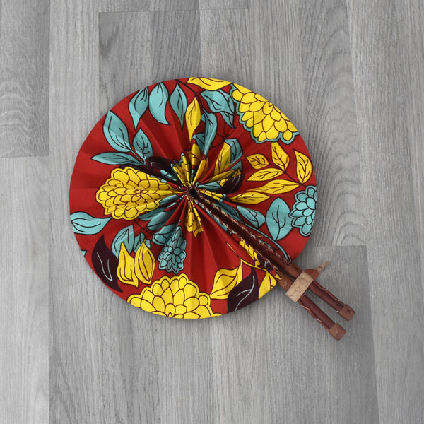 African Print Foldable Hand Fan - AP007, Hand Fans - Rufina Designs