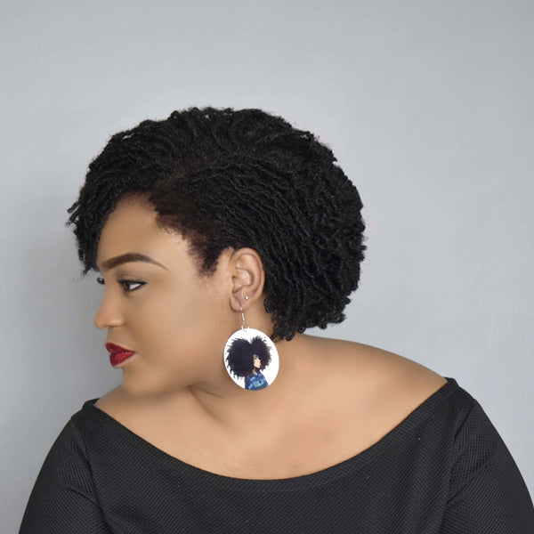African Woman Afro  Wooden Earring