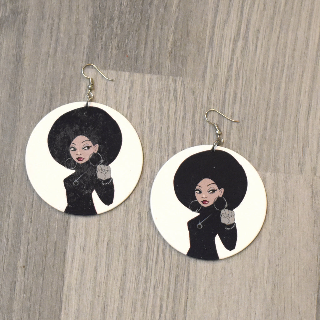 Afro Lady Wooden Earring, earring - Rufina Designs