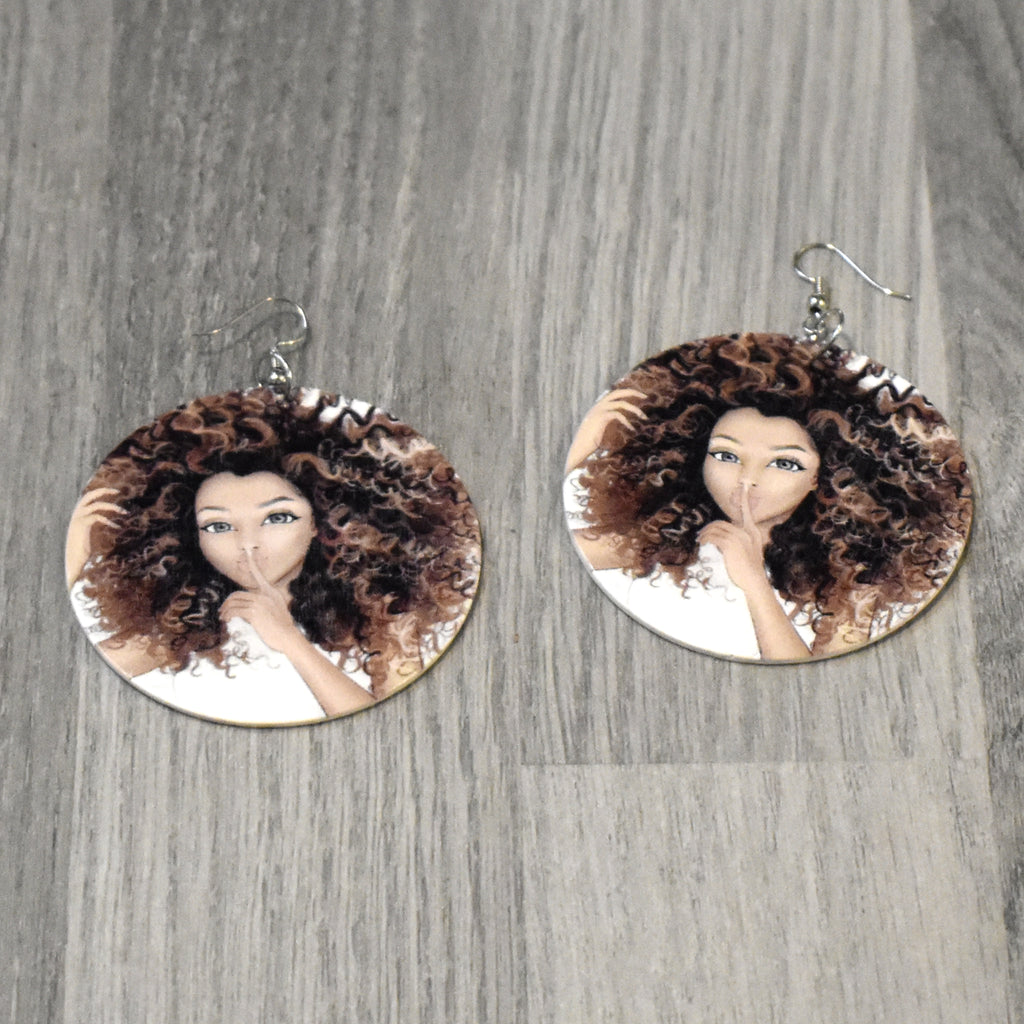 Afro Hair Wooden Earring, earring - Rufina Designs