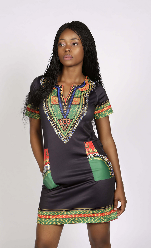 Black and green dashiki spandex dress, Dress - Rufina Designs