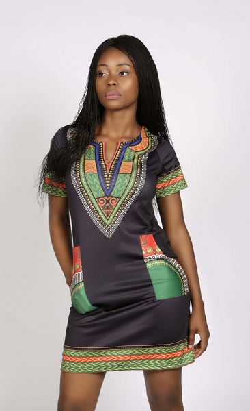 Black and green dashiki midi dress, Dress, Rufina, [shop_name,- Rufina