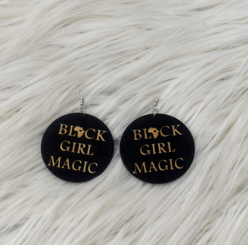 Black Girl Magic Wooden Earring, earring - Rufina Designs
