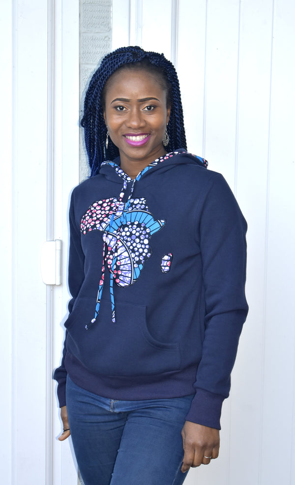 Supersoft African Print Blue Hoodie - Naki, Top - Rufina Designs
