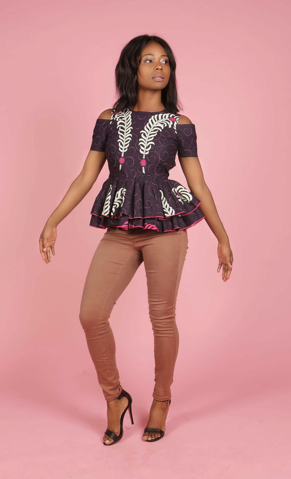 African Print Cold Shoulder Top, Top - Rufina Designs
