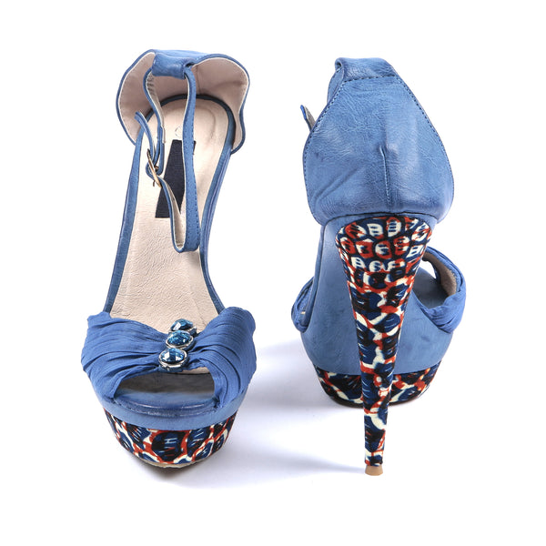 African print open platform shoe, High Heel - Rufina Designs