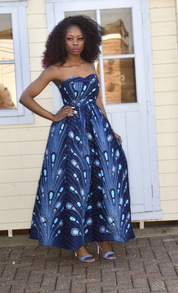 African Print Maxi Dress - Cessy, Dress - Rufina Designs