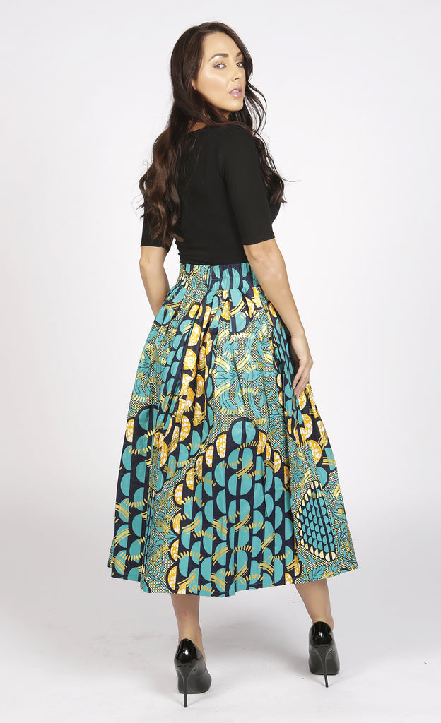 Diana green and gold African print midi skirt, Dress, Rufina, [shop_name,- Rufina