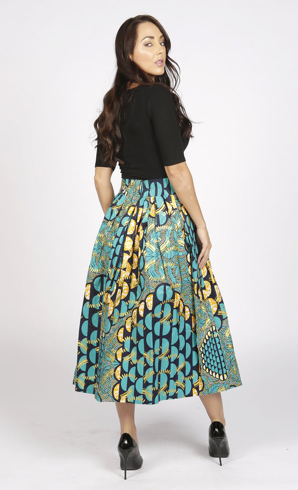 Diana Green and Gold African Print Midi Skirt, Skirt - Rufina Designs