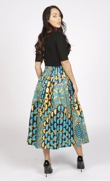Diana Green and Gold African Print Midi Skirt, Skirt, Rufina, [shop_name,- Rufina