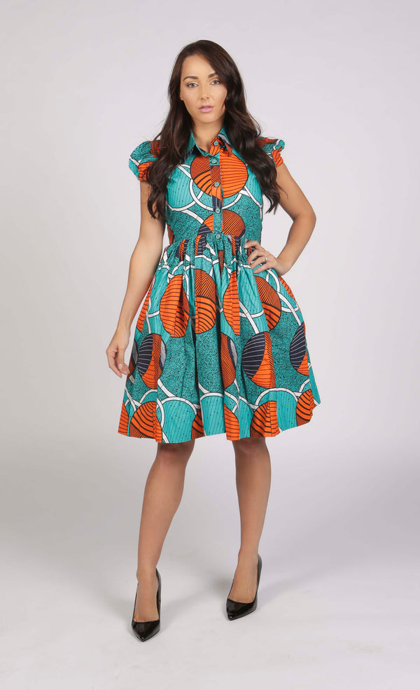 Sasha Green and orange African Print Midi Dress, Dress - Rufina Designs